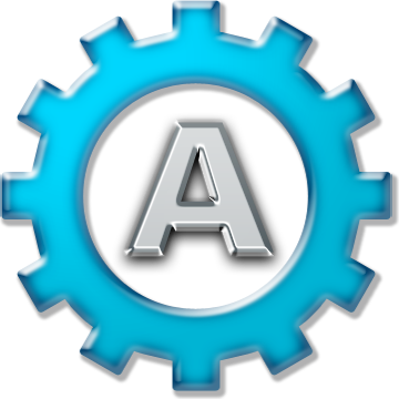 Gear with letter 'A'