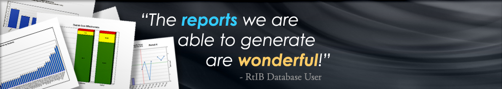 "Stack of reports with the quote: ""The reports we are able to generate are wonderful!"" - RtIB Database User"