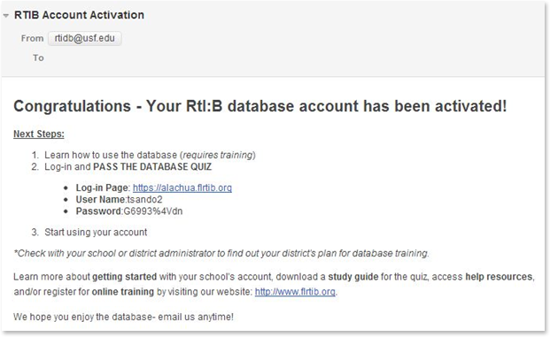 Screenshot of account activation email.