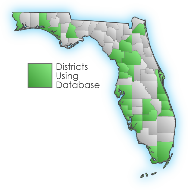 Florida map with counties using database highlighted.