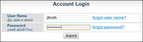 Account login dialogue box