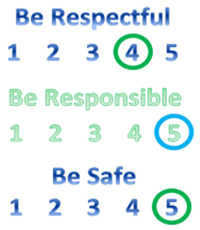 Respect, Responsible, Safe scoring chart